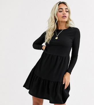 New Look Petite long sleeved mini smock dress in black