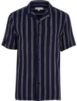 River Island Mens Navy stripe short sleeve slim fit shirt