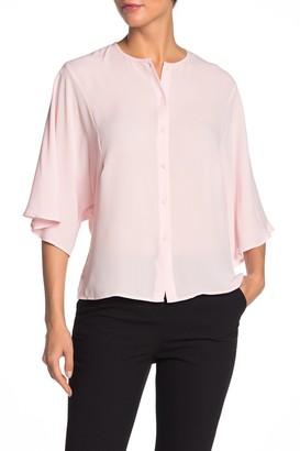Catherine Malandrino 3/4 Flutter Sleeve Button Front Blouse
