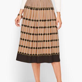 Talbots Stripe Pleated Midi Skirt
