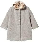 Wild & Gorgeous Grey Clementine Coat with Detachable Faux Fur Collar
