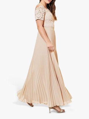 Oasis Pleated Skirt Bardot Lace Top Maxi Dress, Gold