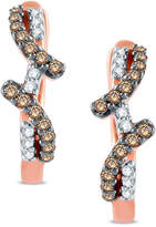 Zales 1/5 CT. T.W. Champagne and White Diamond Ribbon Hoop Earrings in 10K Rose Gold