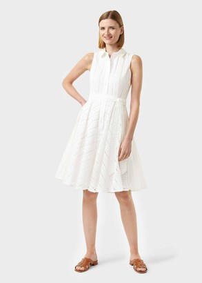 Hobbs Emelie Cotton Embroidered Fit And Flare Dress