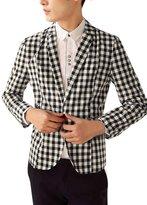 uxcell® Men Notched Lapel Plaids Print One Button Blazer Jacket Black White S