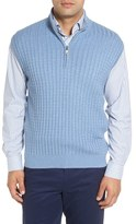 Robert Talbott Men's Cable Knit Quarter Zip Cotton Blend Sweater Vest