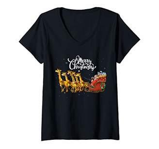 Womens Funny Santa Sleigh Giraffe Merry Christmas Gift V-Neck T-Shirt