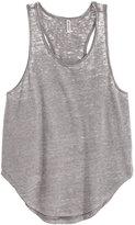 H&M Melange Jersey Tank Top - Gray/burnout - Ladies