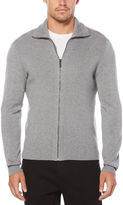 Perry Ellis Solid Ribbed Full Zip Sweater