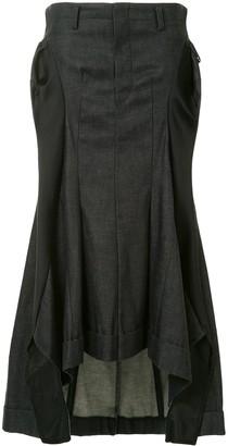 Junya Watanabe Comme Des Garçons Pre Owned Gathered Flared Denim Skirt