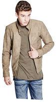 GUESS Men's Baldrick Faux-Suede Bomber Jacket