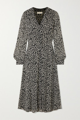 MICHAEL Michael Kors Belted Leopard-print Crepe Midi Dress - Black