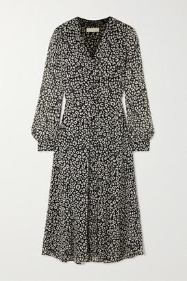 MICHAEL Michael Kors Belted Leopard-print Crepe Midi Dress - Black