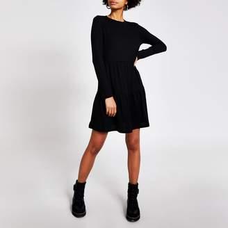 River Island Womens Black long sleeve ribbed mini smock dress
