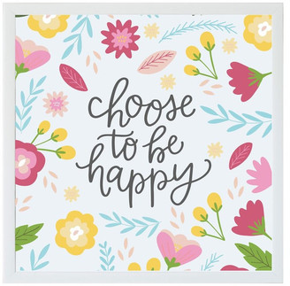"""Petal Lane """"Choose To Be Happy"""" Magnet Board With White Frame, 16""""x16"""""""
