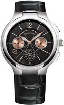 Philip Stein Teslar 45mm Chronograph Watch w/ Calfskin Strap, Black