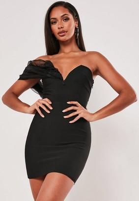 Missguided Black Bandage Organza Bandeau Mini Dress