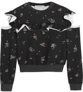 Philosophy di Lorenzo Serafini Cold-Shoulder Ruffled Floral-Print Cotton-Jersey Sweatshirt
