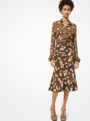 Michael Kors Collection Daisy Silk Crepe De Chine Ruched Skirt