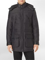 Calvin Klein Faux Leather Trim Hooded Puffer Coat