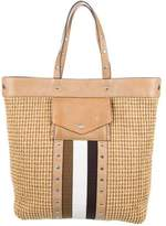 Ghurka Leather-Trimmed Straw Tote