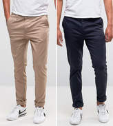 Asos 2 Pack Skinny Chinos In Navy & Stone SAVE