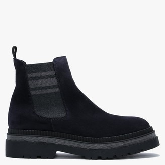 Alpe Almosa Navy Suede Chunky Chelsea Boots