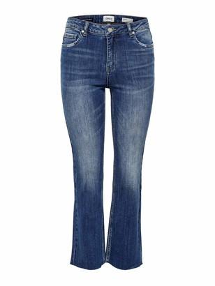 Only Women's Onlkenya Mid Sweet Fl Crop DNM Bj14676 Flared Jeans