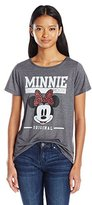 Disney Juniors Minnie Mouse Polyester Rayon Blend High Low Drapey Graphic T-Shirt