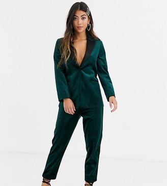 Asos DESIGN Petite velvet tux slim suit trousers in forest green