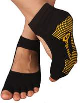 Kylin Express Pilates Womens Non Slip Half Toe Yoga Socks Grip Cotton Toeless Socks