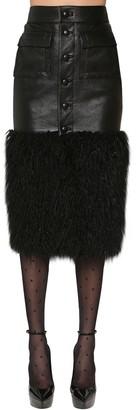 Saint Laurent Faux Fur & Leather Midi Skirt