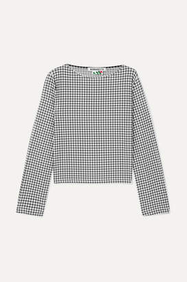 MONICA Bernadette BERNADETTE Gingham Stretch-jersey Top - Black