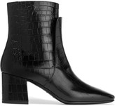 Givenchy Ankle Boots In Black Croc-effect Leather