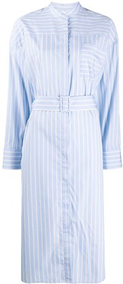MSGM Contrast Stripe Cotton Shirt Dress