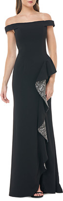 Carmen Marc Valvo Off-the-Shoulder Crepe Gown w/ Metallic Sequin Lined Side Ruffle