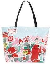 Kate Spade Be Mine Rose Scene Hallie Canvas Tote - Red