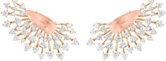 Hueb Luminus 18k Pink Gold Rose Quartz Pear and Diamond Earrings