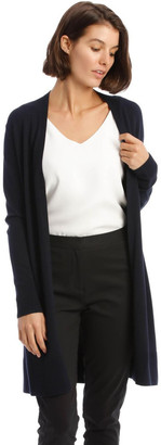 Basque Long-Line Cardigan In Midnight Blue With Ribbed Detail