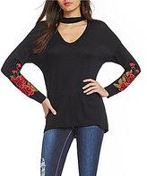 Moa Moa Choker Neck Embroidered Sweatshirt
