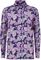 Sandro Paisley Print Silk Shirt, Purple, 1