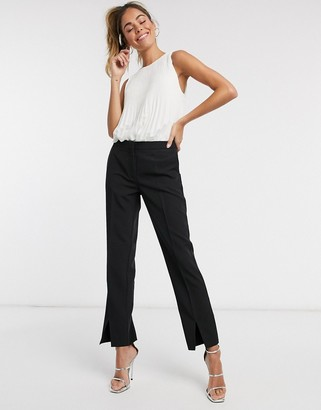 Pimkie tailored pants with split front in black