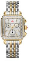 Michele Deco II Diamond, Mother-Of-Pearl, 18K Goldplated & Stainless Steel Bracelet Watch