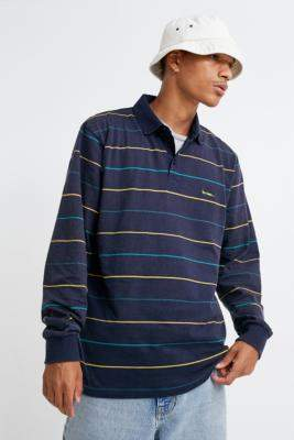 Urban Outfitters Iets Frans... iets frans... Navy Stripe Long-Sleeve Rugby Polo Shirt - blue S at