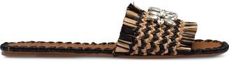 Miu Miu Crystal Detailed Raffia Flat Sandals