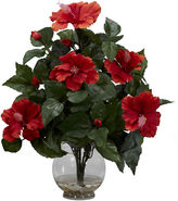 Asstd National Brand Nearly Natural Hibiscus Silk Flower Arrangement with Fluted Vase