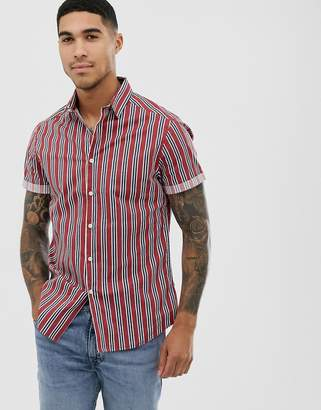 Asos Design DESIGN slim fit shirt in blue and red stripe