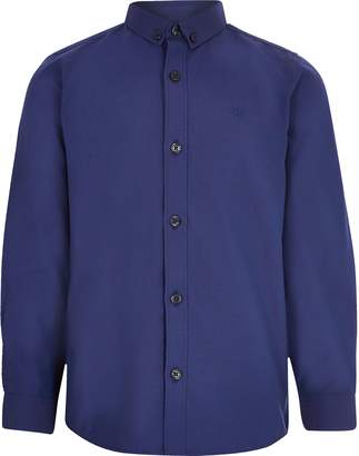 River Island Boys Navy long sleeved twill shirt