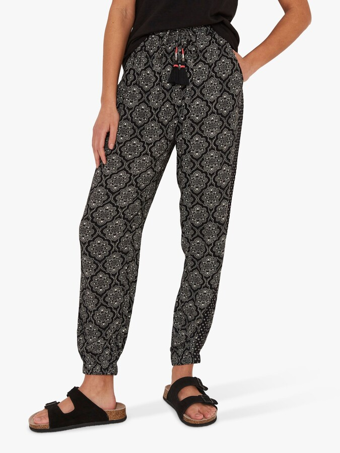 Thumbnail for your product : Fat Face FatFace Floral Tile Geometric Print Trousers, Black