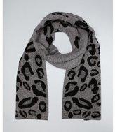 steel grey leopard print wool reversible scarf